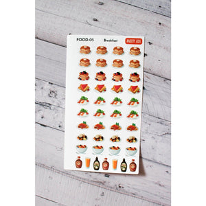 FOOD-05 Breakfast Pancakes and Cereal Planner Stickers  Anxiety Aids Anxiety Aids