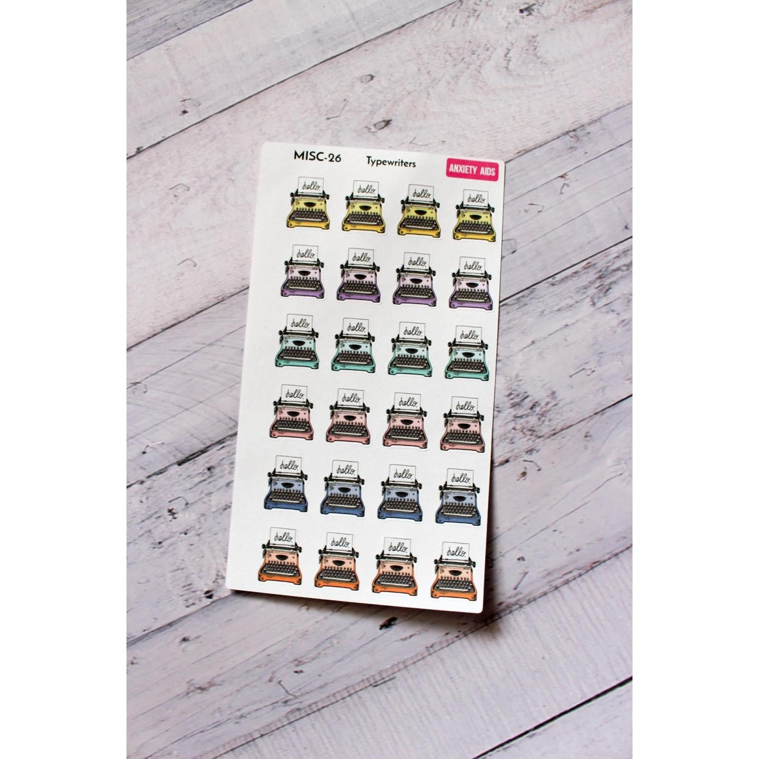MISC-26 cute typewriter Planner stickers  Anxiety Aids Anxiety Aids