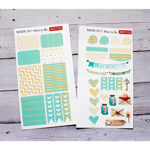 WEEK-02 Mint to Be Weekly Planner decorating kit  Anxiety Aids Anxiety Aids