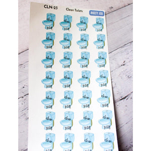 CLN-23 Clean the toilets reminder planner stickers - Anxiety Aids