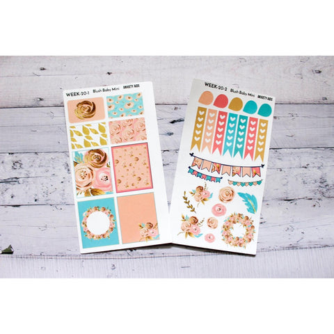 WEEK-20 Blush Baby Mini Weekly Planner decorating kit - Anxiety Aids