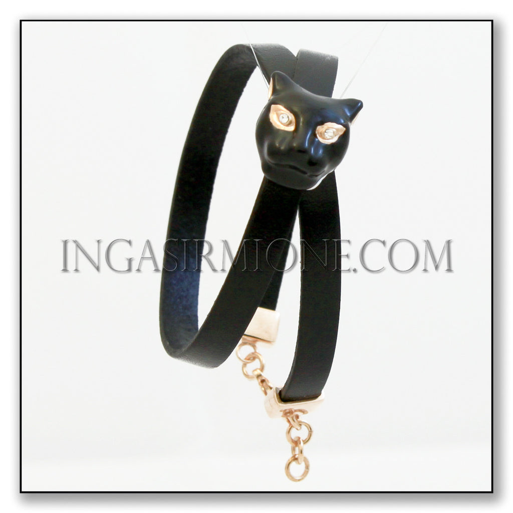 LEATHER BRACELET WITH BLACK PANTHER