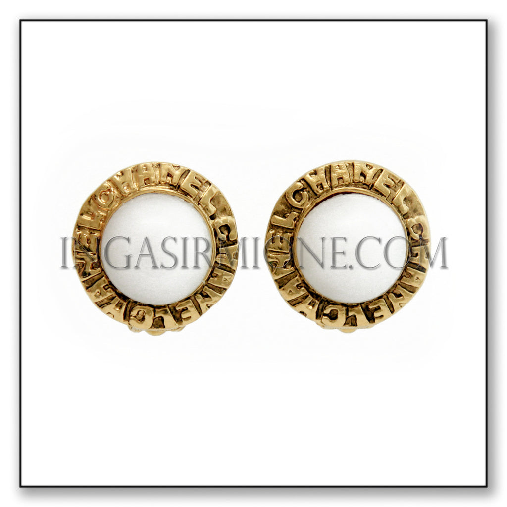 CHANEL GOLD & WHITE EARRINGS