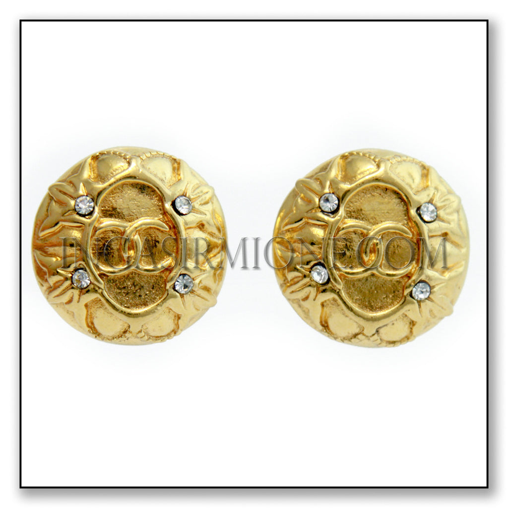 CHANEL GOLD ROUND  EARRINGS