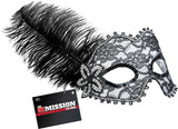 Feathered Masquerade Masks (Black)