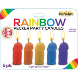 Rainbow Pecker Party Candles 5pk