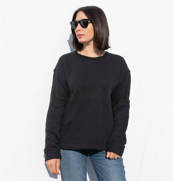 premium basic sweatshirt black with custom embroidery