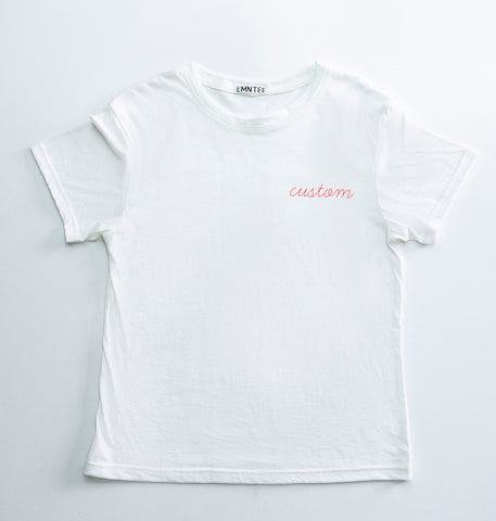 premium basic tee white with custom embroidery