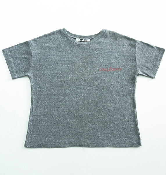 premium basic tee grey with custom embroidery