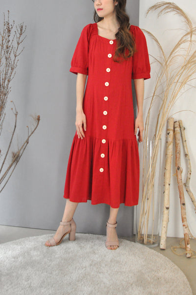 Elastic Shoulder Square Neck Dress
