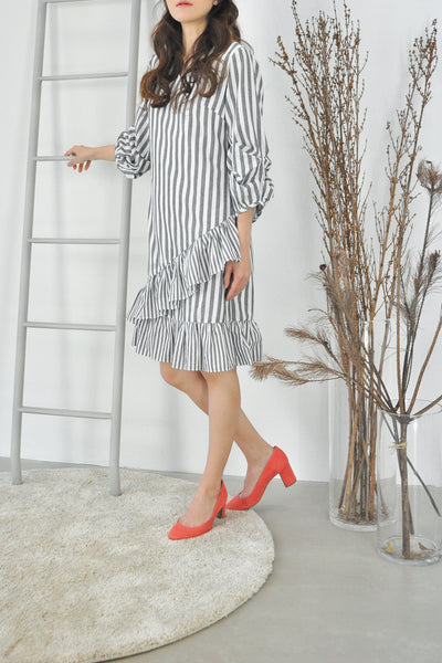 Asymmetrical Ruffles Striped Dress