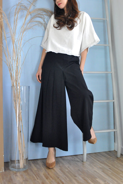 Pleats Detail Overlap Pants