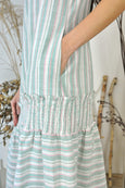 Shirring Flounce Hem Stripey Dress