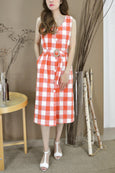 V-Neck Checks Belted Dress