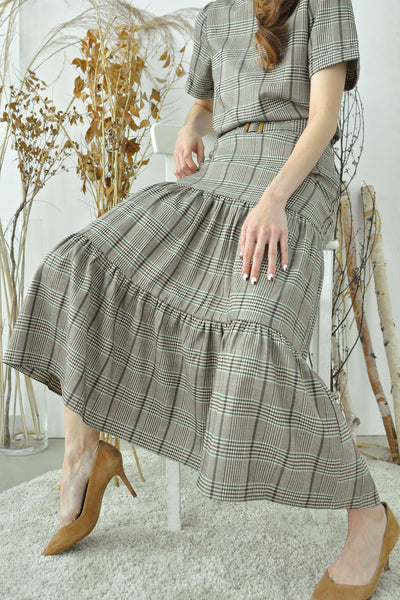 Tiered Plaid Long Skirt