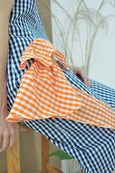 Cascading Folds Checkered Dress