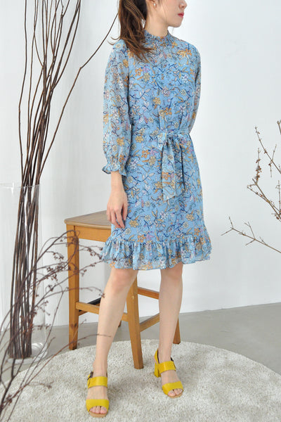 Shirring Collar Floral Dress