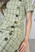 Buttons Square Neck Checkered Dress