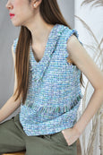 V-Neck Fringe Tweed Top