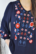 Embroidery Bishop Sleeves Blouse