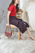 Asymmetrical Flounce Plaid Skirt