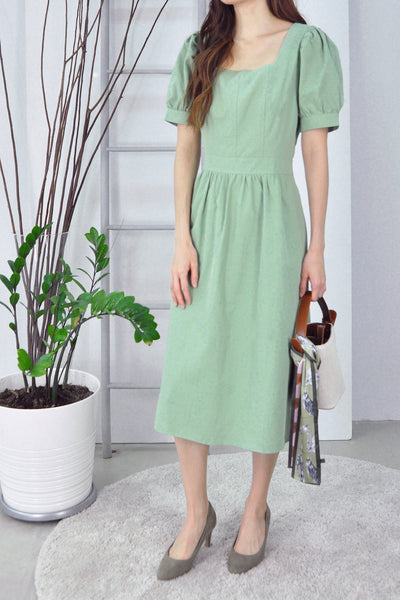 Square Neckline Puffy Sleeves Dress