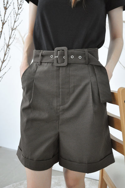 Checks Belted Smart Bermudas