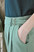 Buckle Waistband Tapered Pants