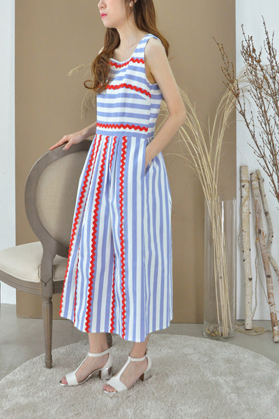 Contrast Trimmings Stripey Dress
