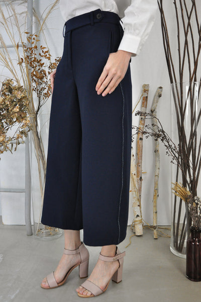 Contrast Stitches Wide Leg Pants