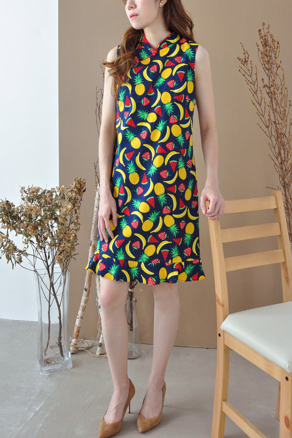 Fruit Platter Mandarin Collar Dress