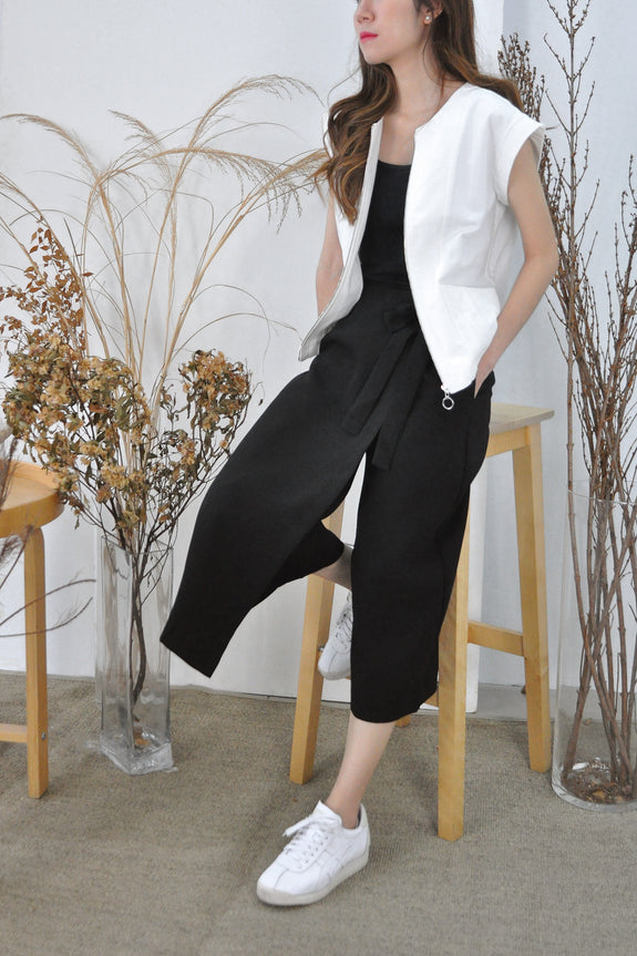 Overlap Ribbon Tie Culottes