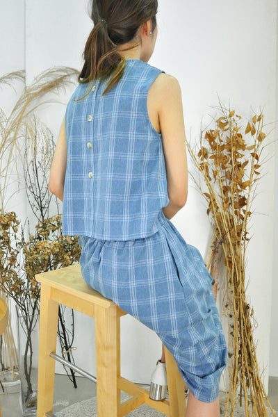 Open Back Buttons Checkered Dress