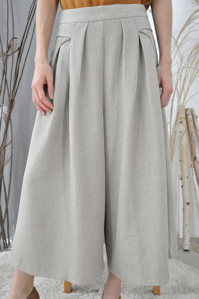 Pleated Pockets Flare Culottes