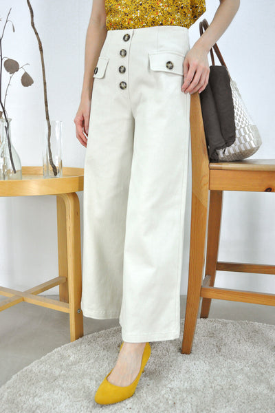 Faux Buttons Wide Leg Pants