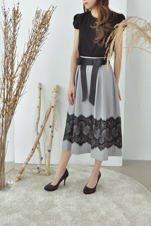 Lace Trimmed Midi Skirt