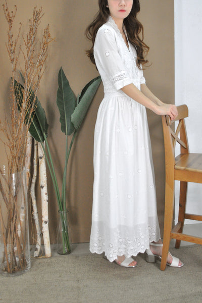 Cutwork Embroidery Long Dress
