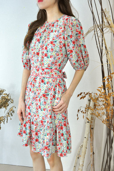 Puffy Sleeves Belted Floral Dress