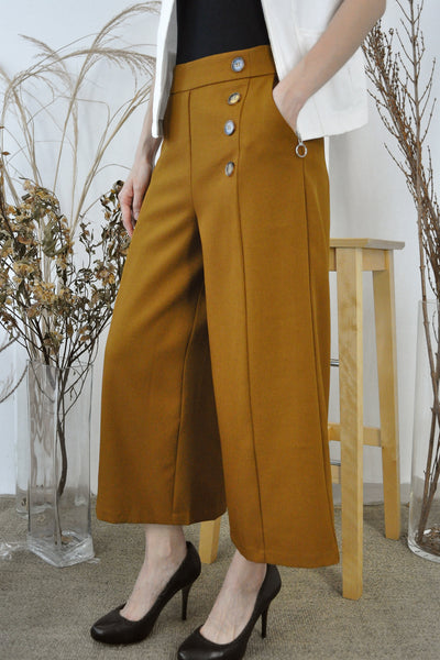Buttons Wide Leg Culottes