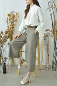 Contrast Waistband Ankle Pants