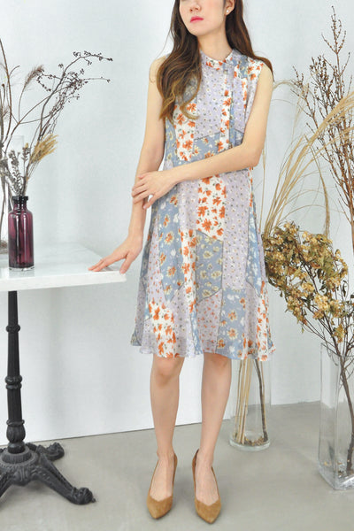 Assorted Floral Panels Dress