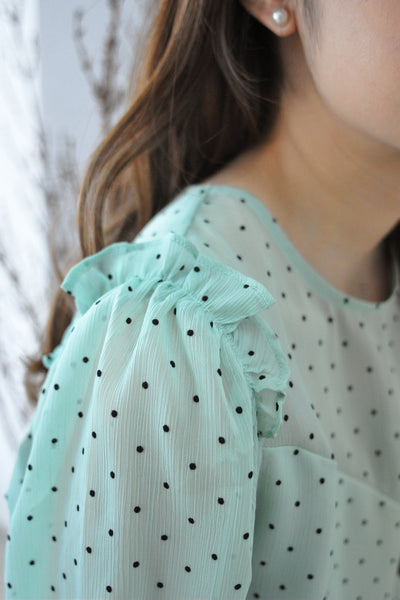 Ruffles Trimmed Dotty Blouse