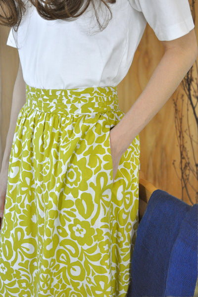 Pleated Waistband Motif Skirt