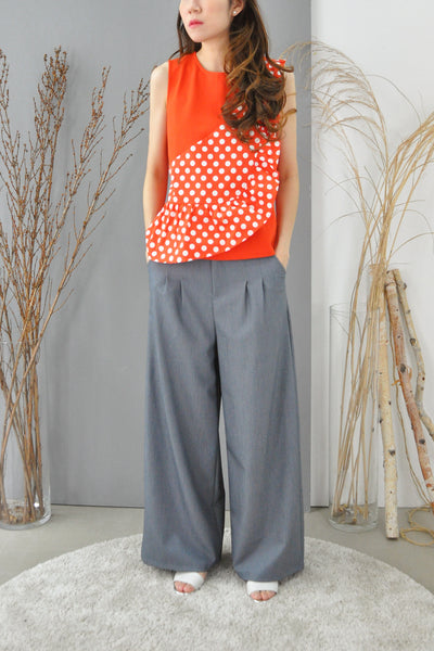 Asymmetrical Dotty Flounce Top