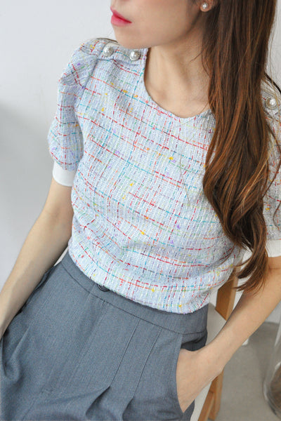 Puffy Sleeves Half Tweed Top