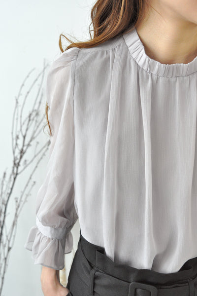 Stand Collar Bell Cuffs Blouse