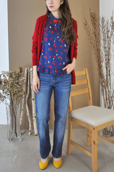 Cherry Motif Mandarin Collar Top