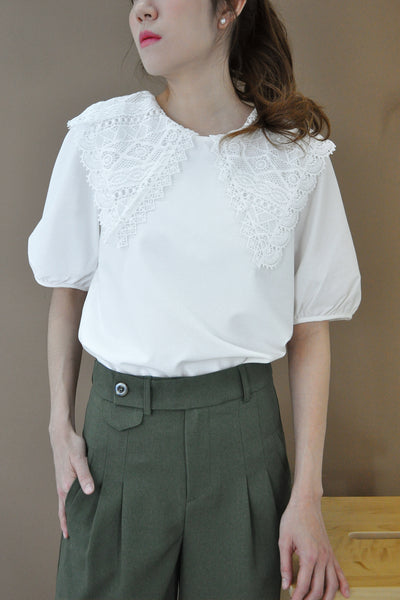 Crochect Lace Puritan Collar Top