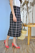 Belted Plaid Pencil Skirt