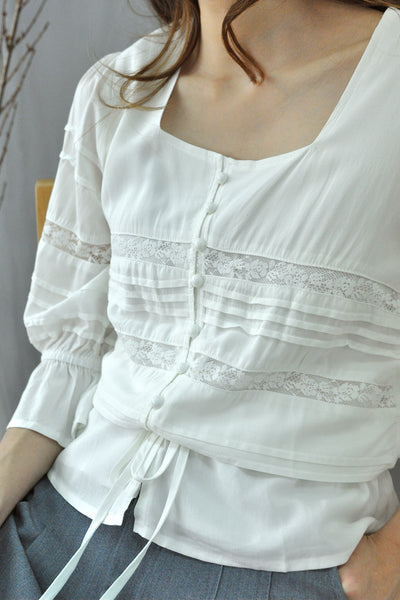 Pin Tuck Drawstring Blouse